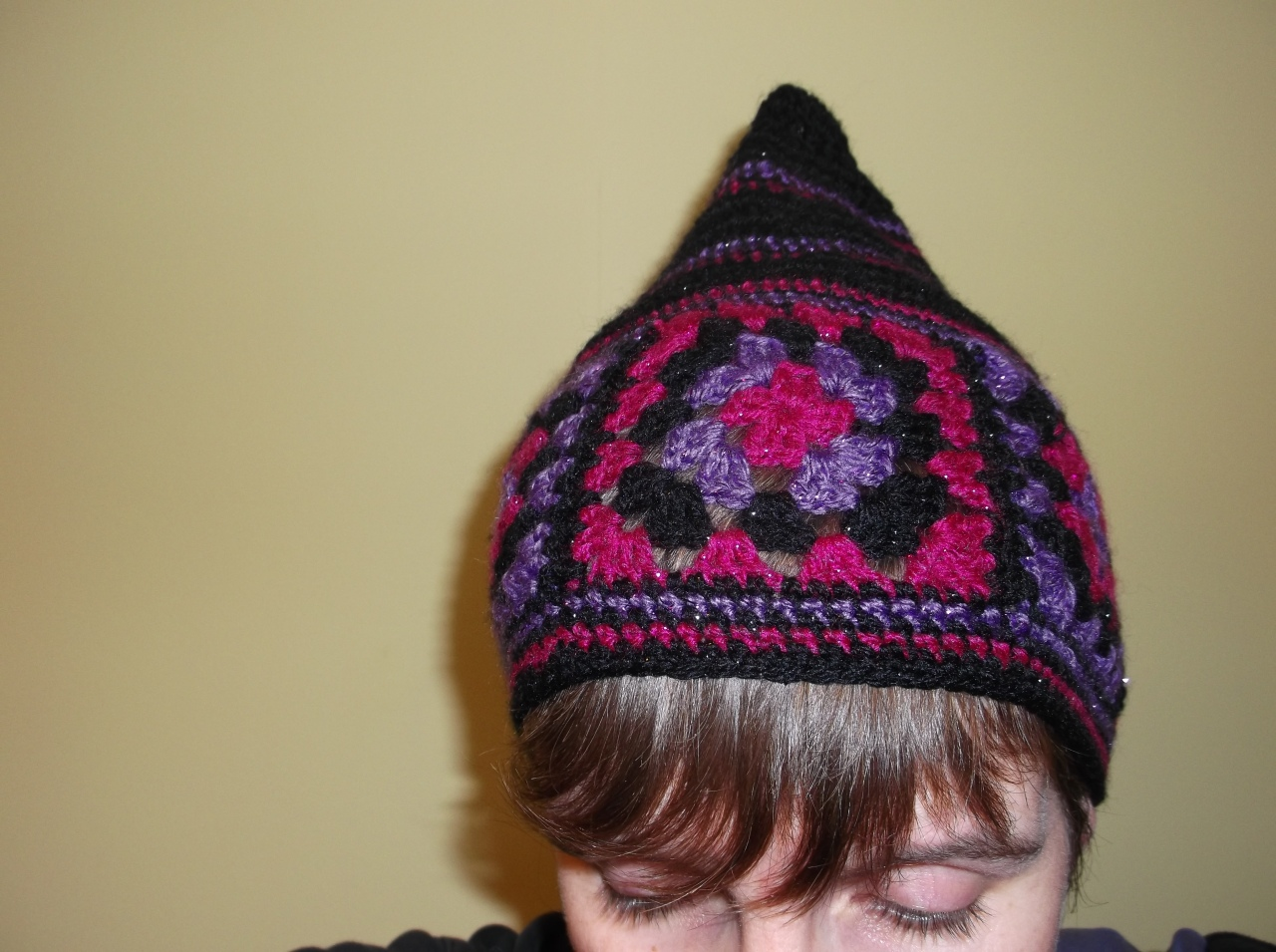 granny square hat unfinished