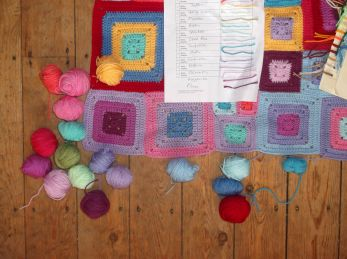 Choosing colours for the edging.