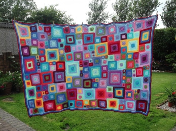 The completed Patchy Blanket