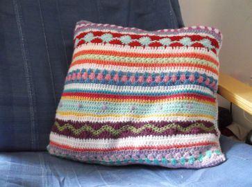 Completed Stripy Cushion.