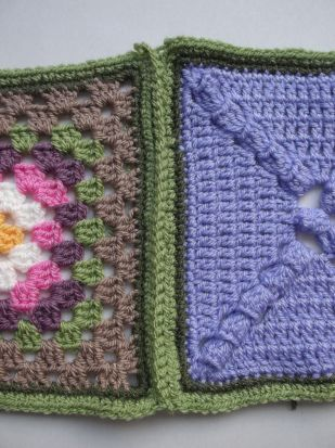 Single crochet join - light green.