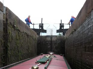 The view from inside a lock, waiting for the gates to open, thanks to some lovely Lock Keepers.