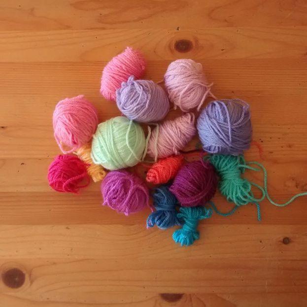 Dwindling yarn scraps.